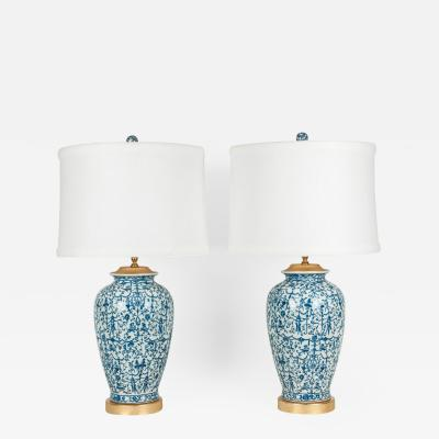Pair of Porcelain with Wooden Base Gold Plated Task Table Lamps