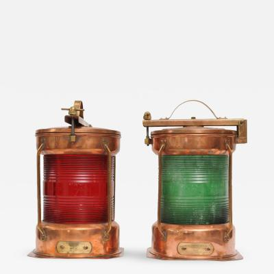 Pair of Port and Starboard Copper Ships Navigational Lights Mid Century