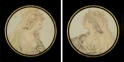 Pair of Portraits of The Actresses Elizabeth Hartley Sarah Siddons