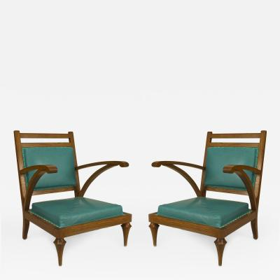 Pair of Post War Modern Oak Slipper Form Armchairs