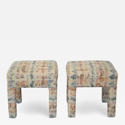 Pair of Postmodern Upholstered Stools