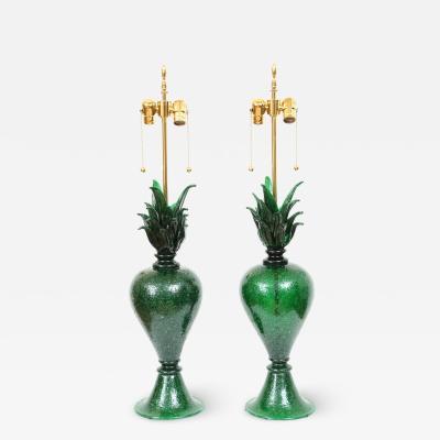 Pair of Pulegoso Murano Glass Studio Table Lamps