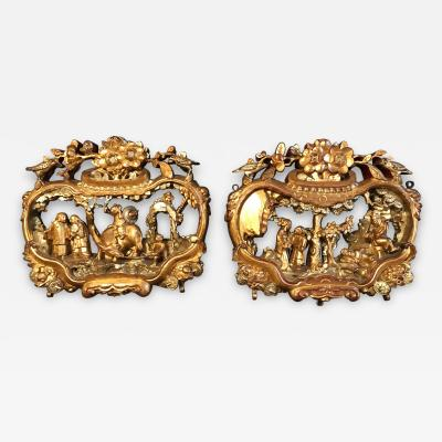 Pair of Qing Chinese Gilded Carvings Provenance GUMP S San Francisco