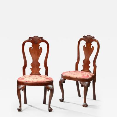 Pair of Queen Anne Compass Seat Side Chairs