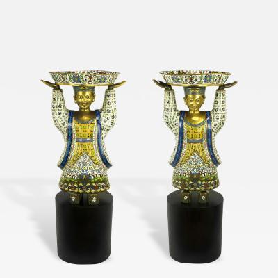 Pair of Rare 49 Tall Cloisonne Vessel Bearing Figures On Walnut Pedestals