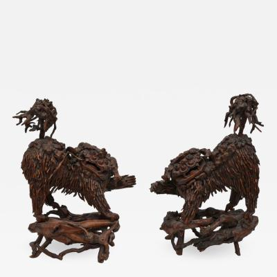 Pair of Rare Chinese Carved Wood Foo Dogs