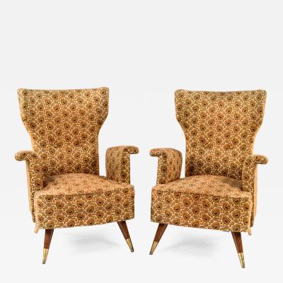 Pair of Rare Form Italian Armchairs