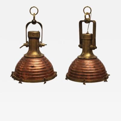 Pair of Rare Large Nautical Copper and Brass Ships Deck Lights Mid Century