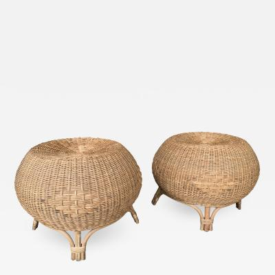 Pair of Rattan Ball Poufs Stools Italy 1970s
