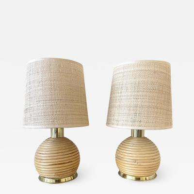 Pair of Rattan and Brass Lamps Italy 1970s