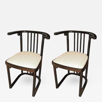 Pair of Re Edition Series 728 Chairs Originally Designed Josef Hoffmann