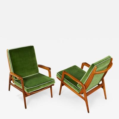 Pair of Reclining Wood Armchairs Italy 1950s