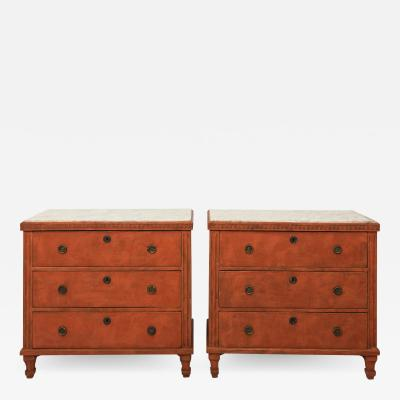 Pair of Red Gustavian Style Commodes