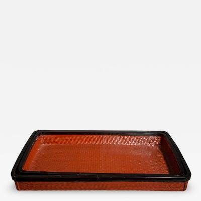 Pair of Red Japanese Lacquer Woven Nesting Trays