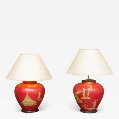 Pair of Red Papier m ch Chinoiserie Decorated Lamps