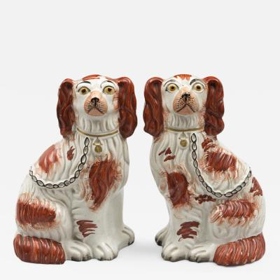 Pair of Red Staffordshire Dogs