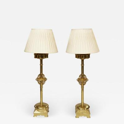 Pair of Reform Movement Gothic Lamps