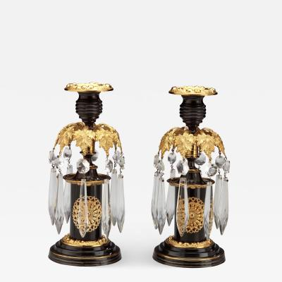 Pair of Regency Lacquered Brass Candlesticks with Glass Prisms