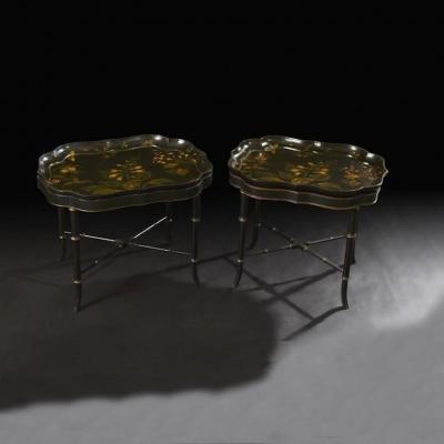 Pair of Regency Papier Mache Tray Top Tables