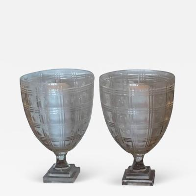 Pair of Regency Style Glass Photophores 20th Century