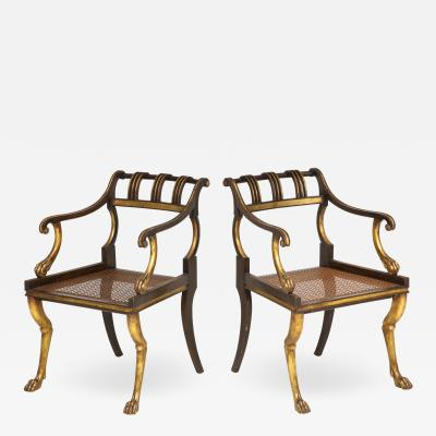 Pair of Regency Style Painted and Gilt Arm Chairs