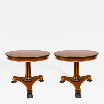Pair of Regency Style Parcel Gilt and Ebonized Pedestal Tables