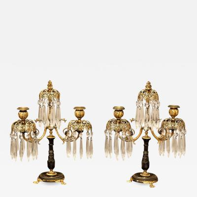 Pair of Regency Two Arm Candelabra