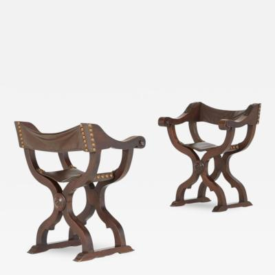 Pair of Renaissance Revival Walnut Savonarola Folding Chairs circa 1880