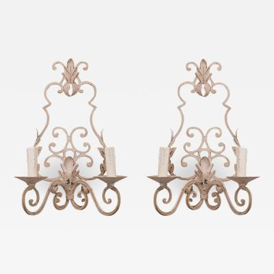 Pair of Reproduction European Painted Iron Sconces