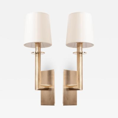 Pair of Reproduction Hand Rubbed Brass Sconces