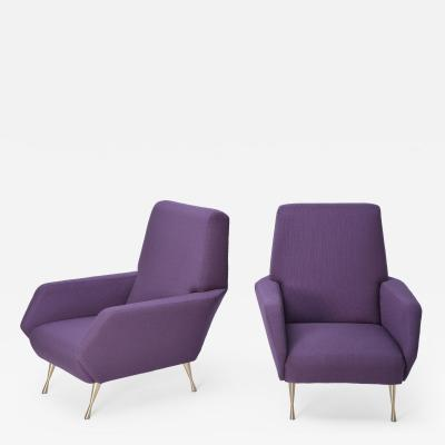 Pair of Reupholstered Purple Italian Lounge Chairs