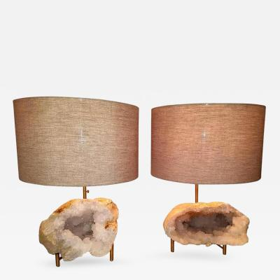 Pair of Rock Crystal Geode and Brushed Brass Lamps