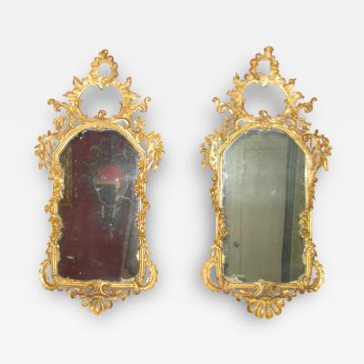 Pair of Rococo Original Gilded Mirrors with Very Fine Carving