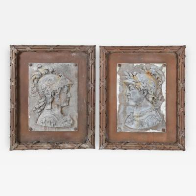 Pair of Roman Soldier Outdoor Plaques in Ribbon Reed Frames