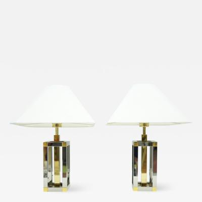Pair of Romeo Rega Table Lamps in Brass and Chrome 1970s