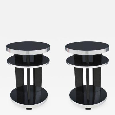 Pair of Round Art Deco Ebonized Side Tables