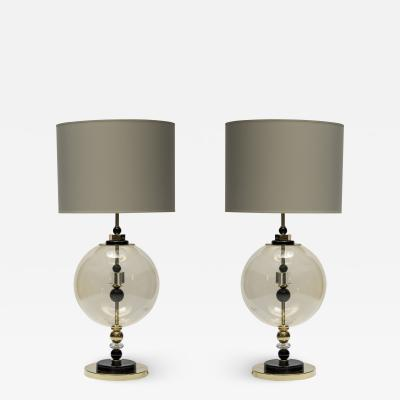Pair of Round Brass and Murano Glass Table Lamps