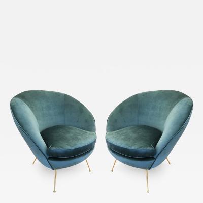 Pair of Round Italian Mid Century Armchairs