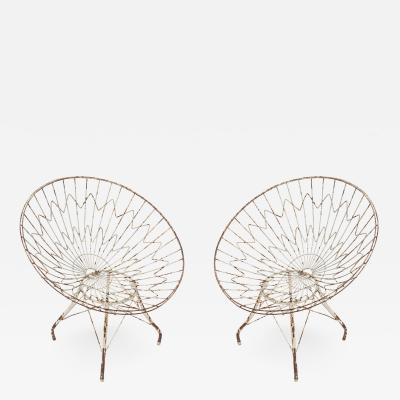 Pair of Round Metal Outdoor Garden Chairs
