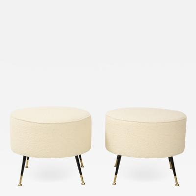 Pair of Round Stools or Poufs in Ivory Boucle Brass Legs Italy 2021