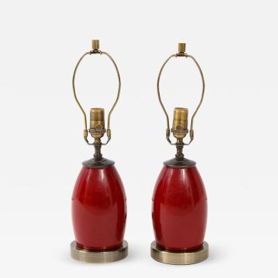 Pair of Ruby Red Lamps