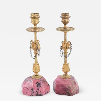 Pair of Russian Gilt Bronze Rhodonite Candlesticks with Eagle