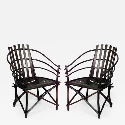 Pair of Rustic Adirondack Amish Willow Barrel Back Design Arm Chairs
