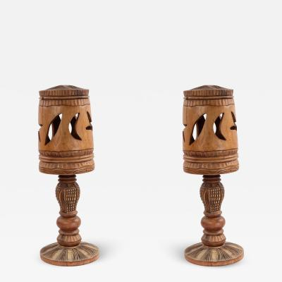 Pair of Rustic Adirondack Style Carved Wooden Table Lamps