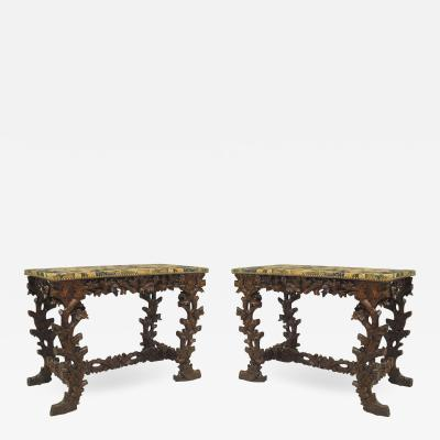 Pair of Rustic Black Forest 19th Cent Walnut Console Tables