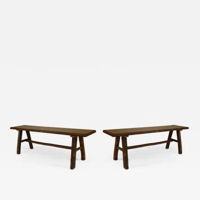 Pair of Rustic Old Hickory Benches