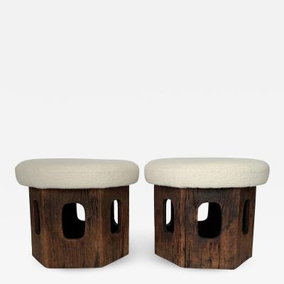 Pair of Rustic Wood Hexagon Mushroom Ottoman Footstools