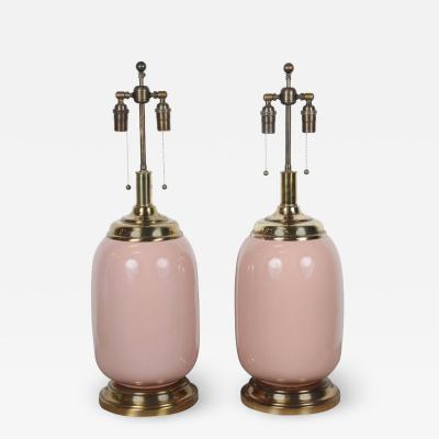 Pair of Salmon Glazed Ceramic Lamps