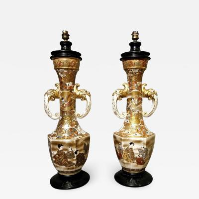 Pair of Satsuma table lamps Japan end of the 19th Century