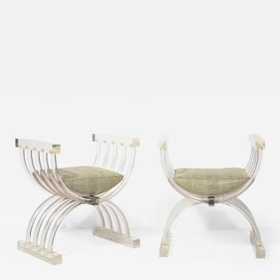 Pair of Savonarola Form Lucite Benches